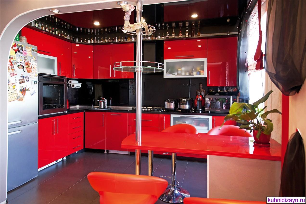 Красная кухня в квартире интерьер