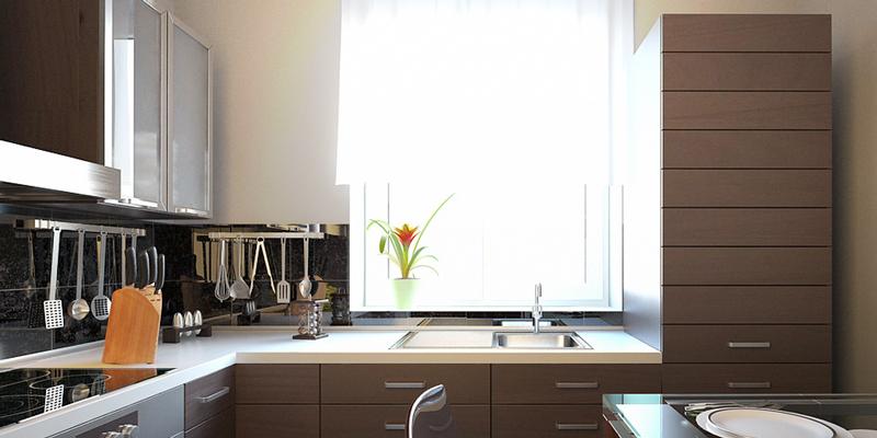 П образная кухня с мойкой у окна